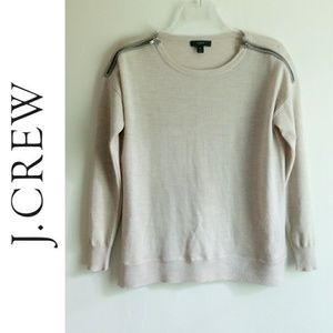 J Crew Zipper Shoulder Light Long Sleeve Sweater